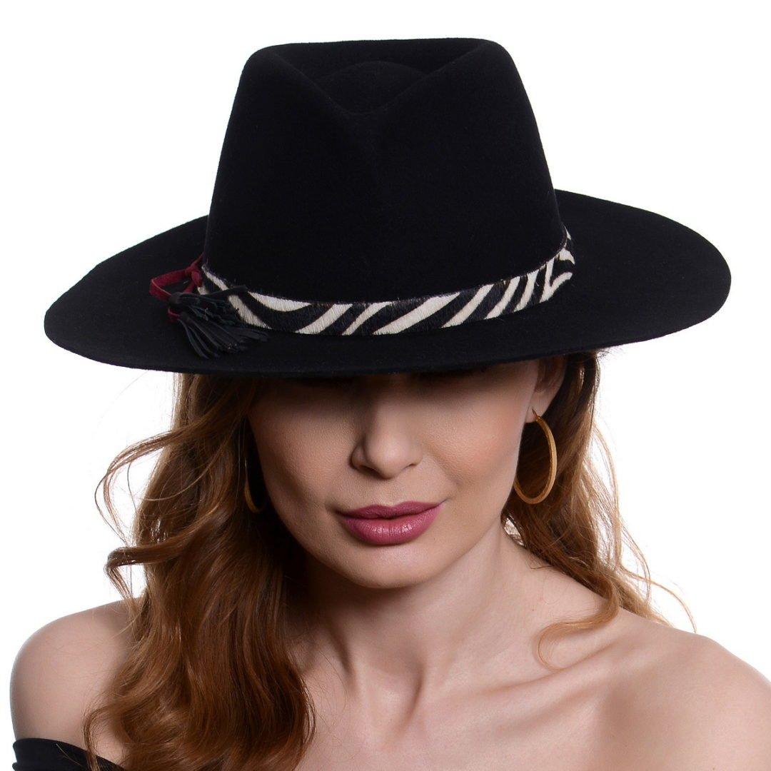 Pălărie Tasha, nero/zebra