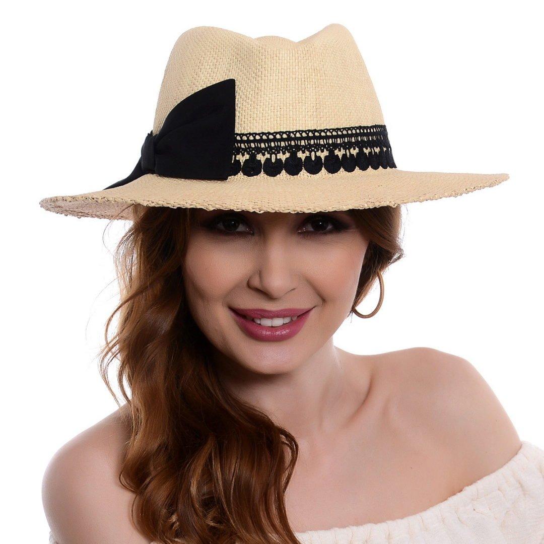 Pălărie Delice natural/negru hartie