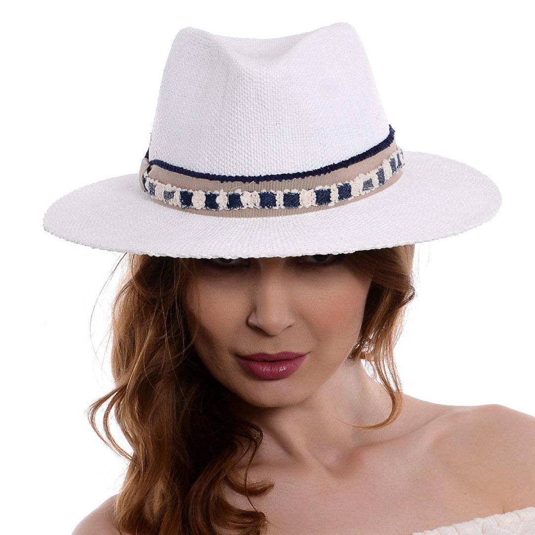 Pălărie Delice alb/bej hartie