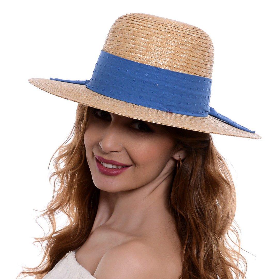 Pălărie Delice natural/albastru paie