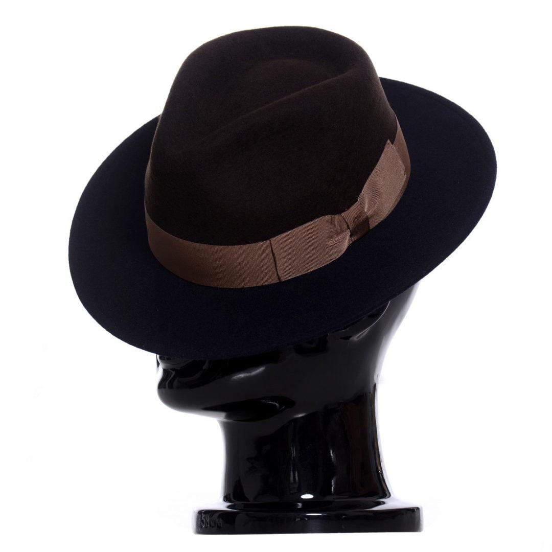 Pălărie Adami bicolore, bor albastru/coroana maro