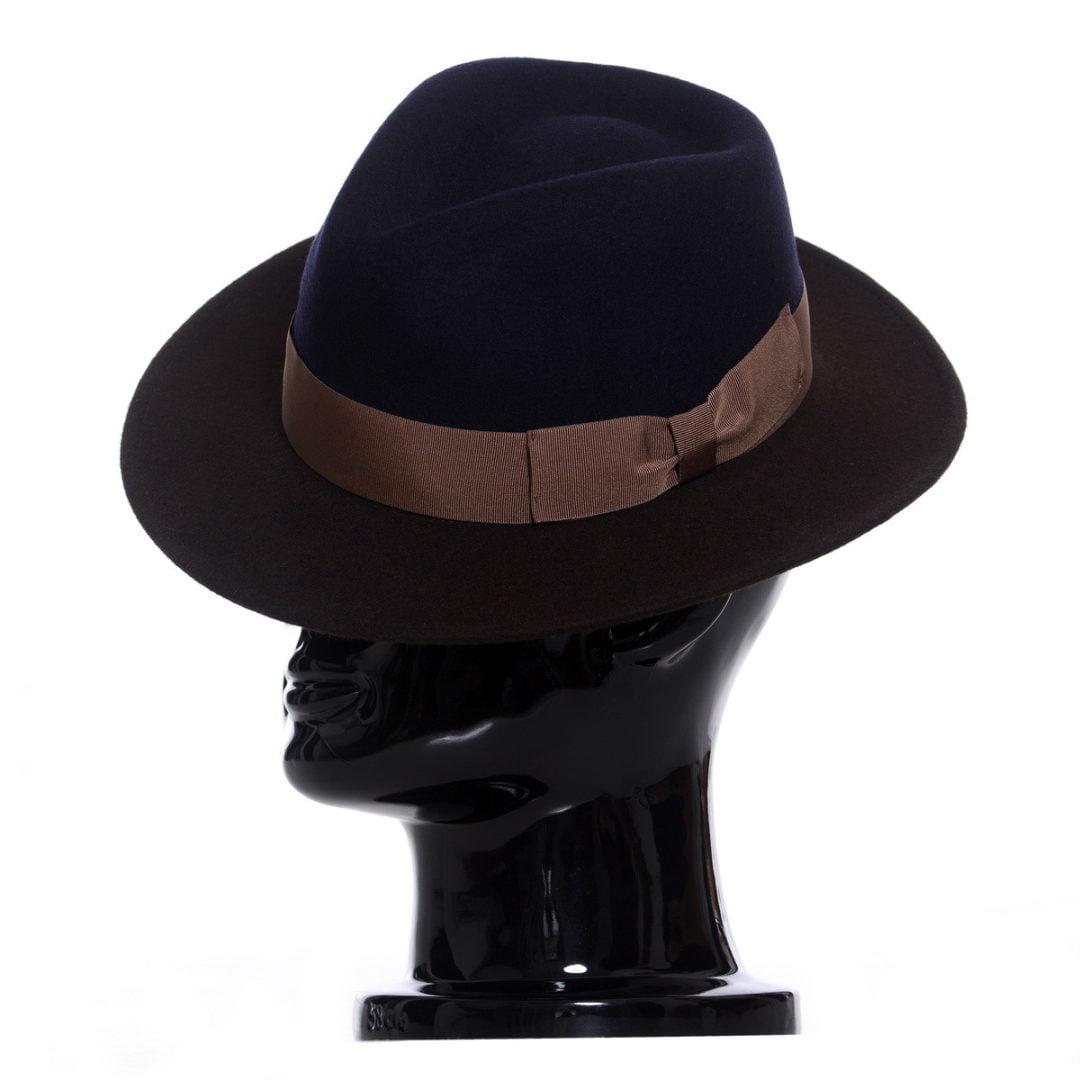 Pălărie Adami bicolore, bor maro/coroana albastra