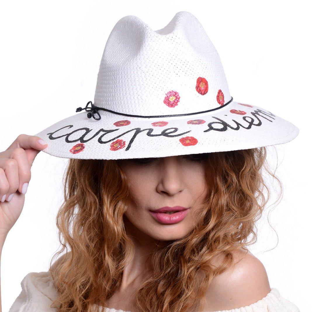 Pălărie Chill carpe diem bianco