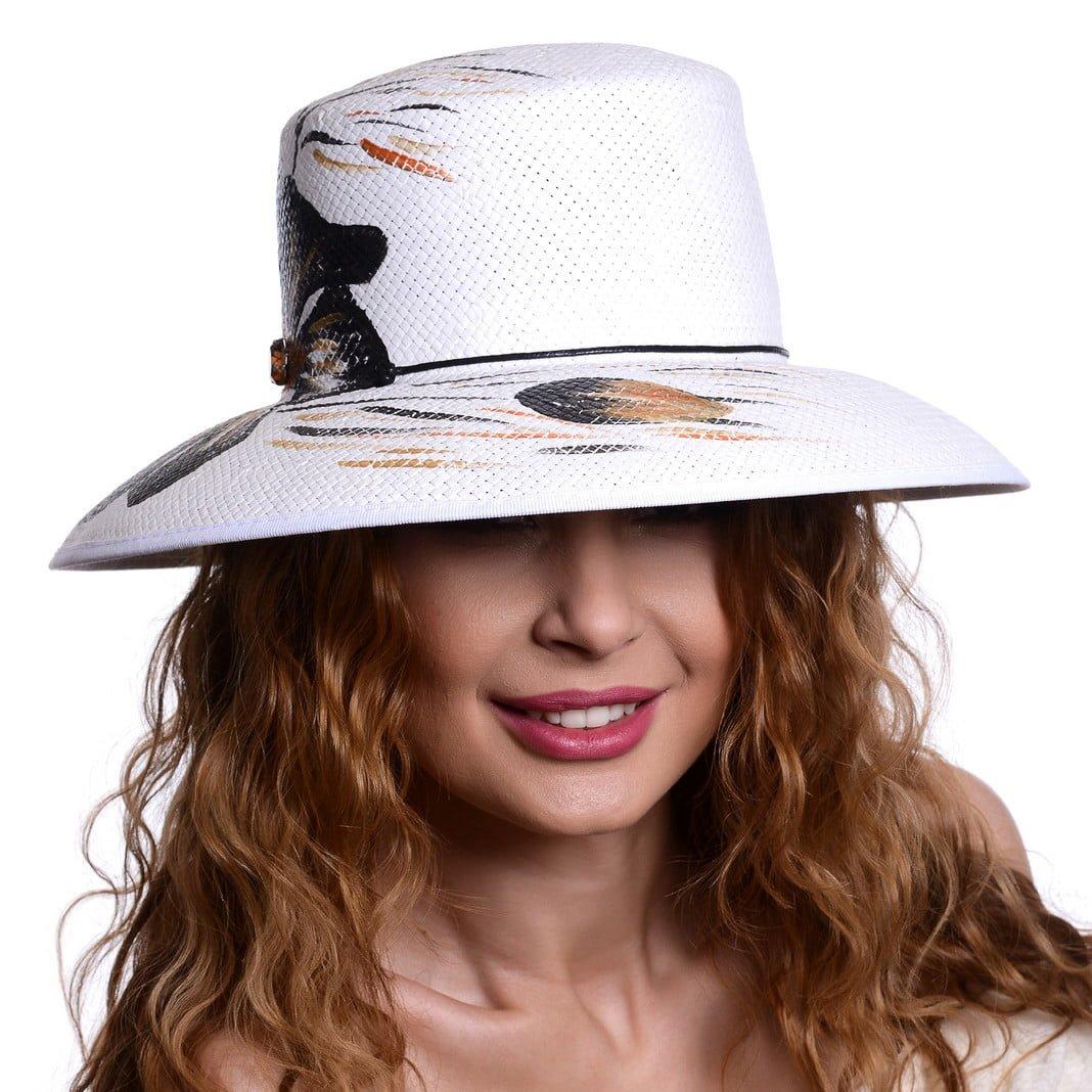 Pălărie Mara print bianco