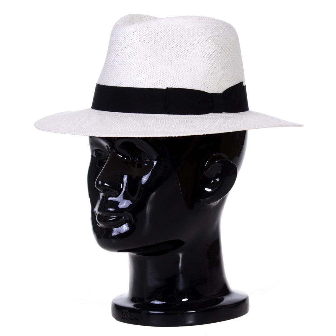 Pălărie Panama Merlin bianco/bandă neagra