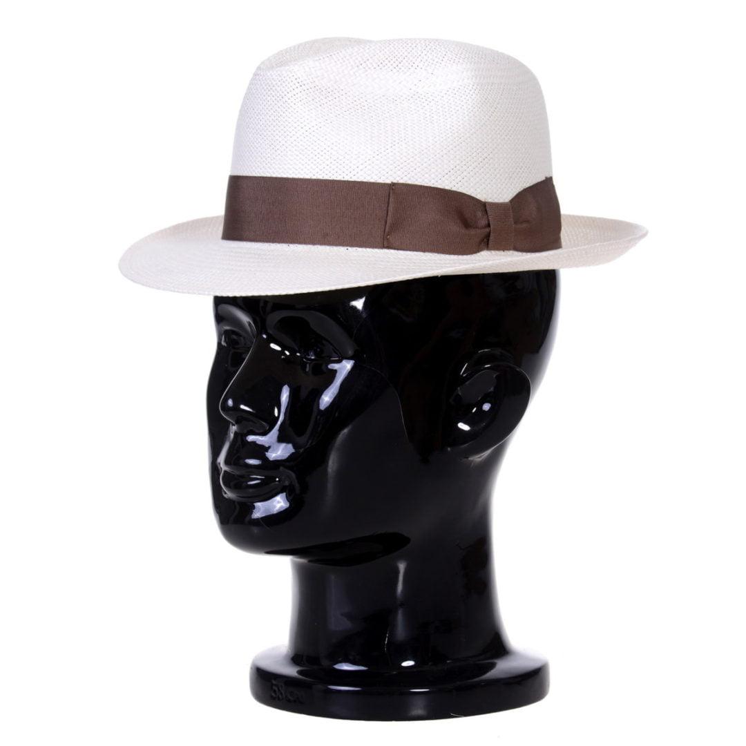 Pălărie Panama Clyde bianco/bandă maro