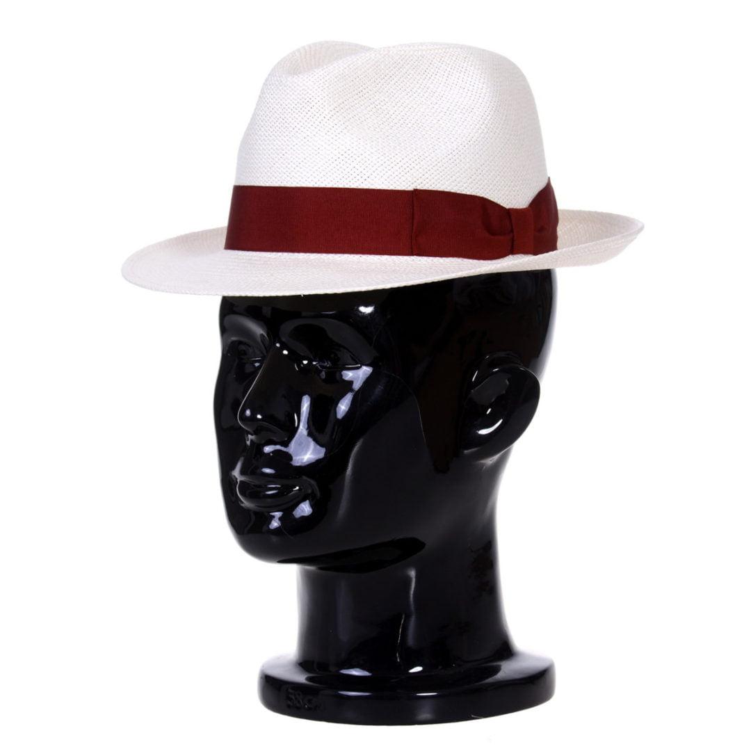 Pălărie Panama Clyde bianco/bandă roșie