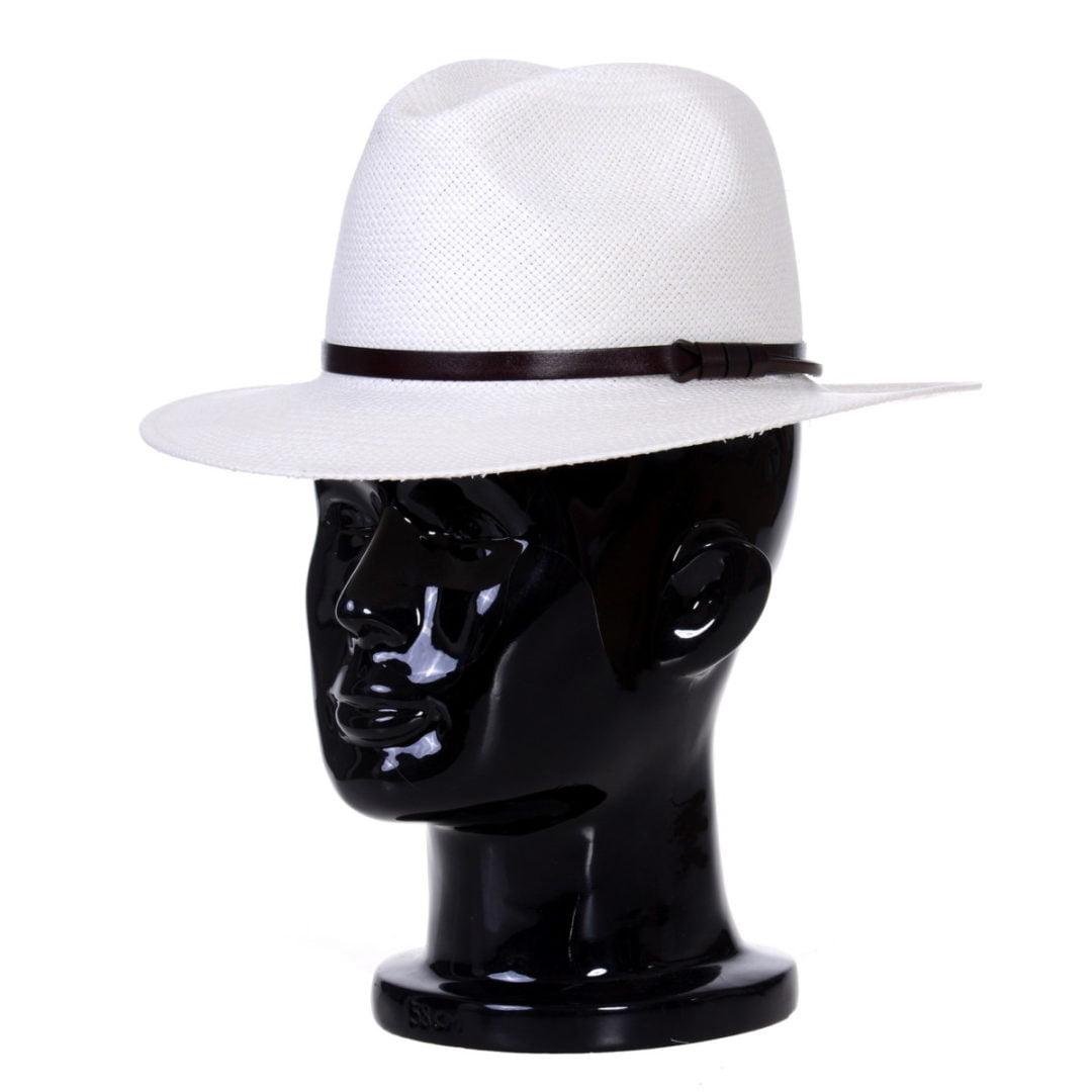 Pălărie Panama Bonnie bianco/curea de piele maro