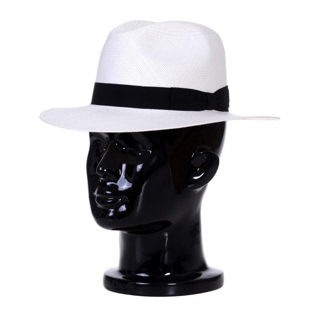 Pălărie Panama Bonnie bianco/bandă neagră