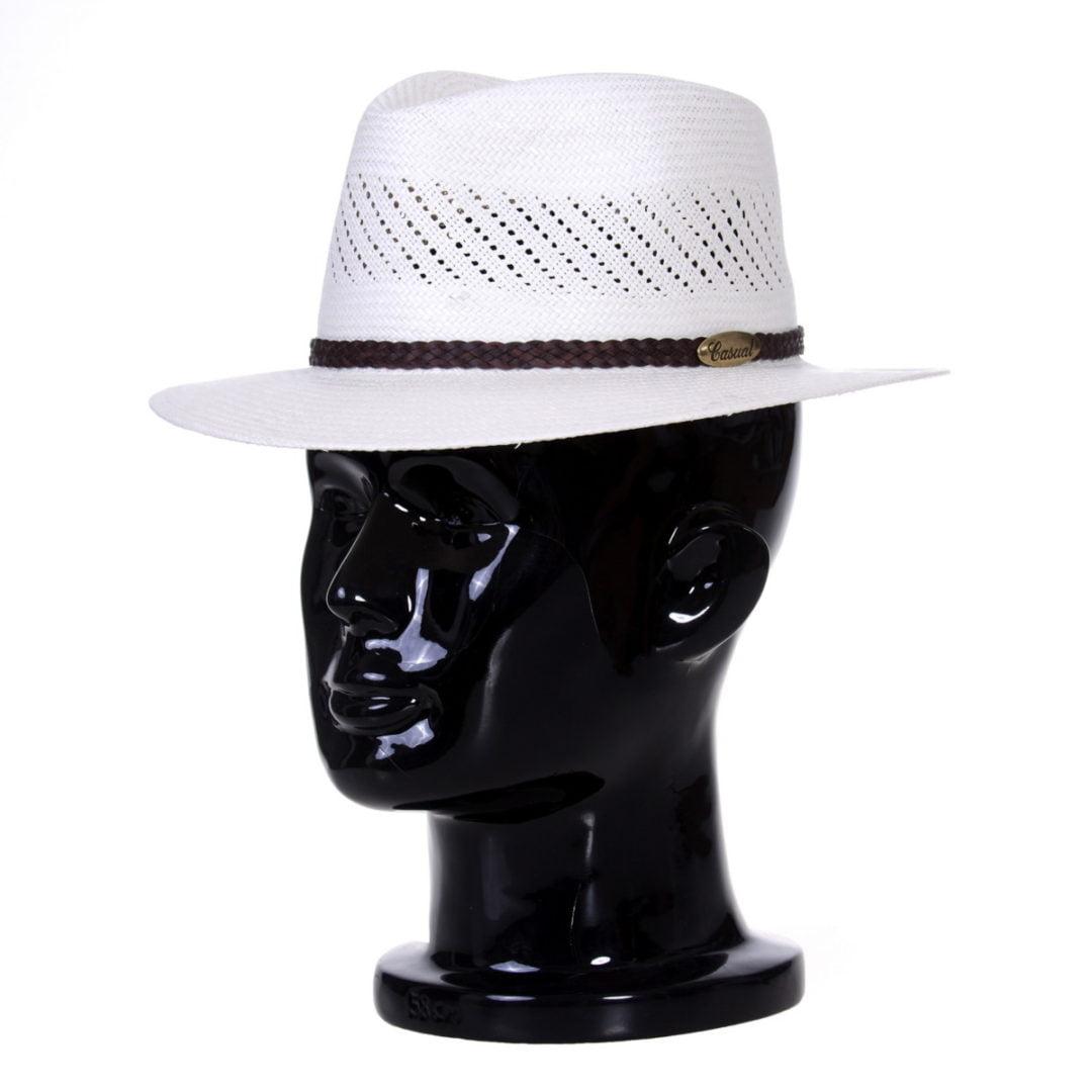 Pălărie Panama Jazz randa/centură piele casual maro
