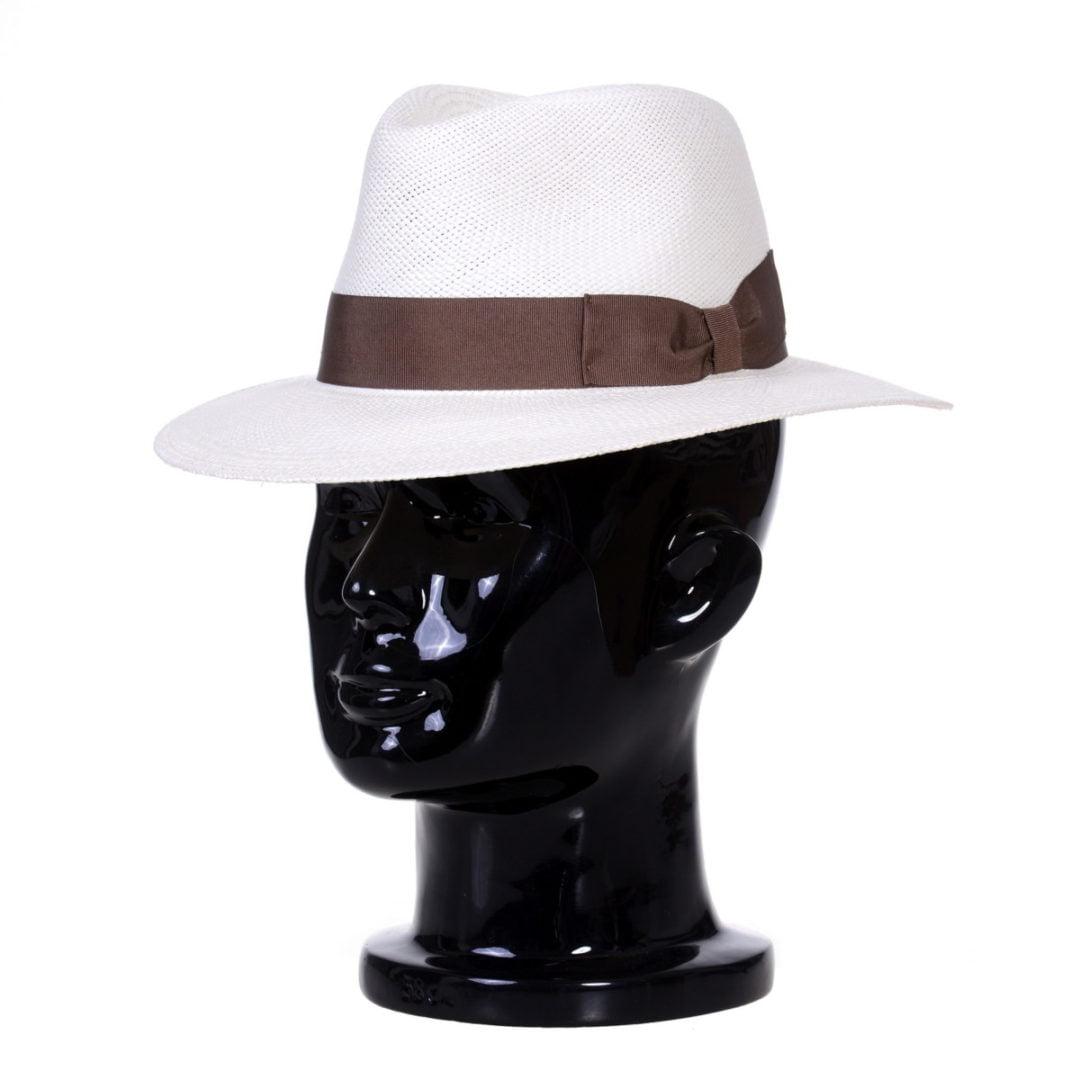 Pălărie Panama Merlin bianco/bandă maro