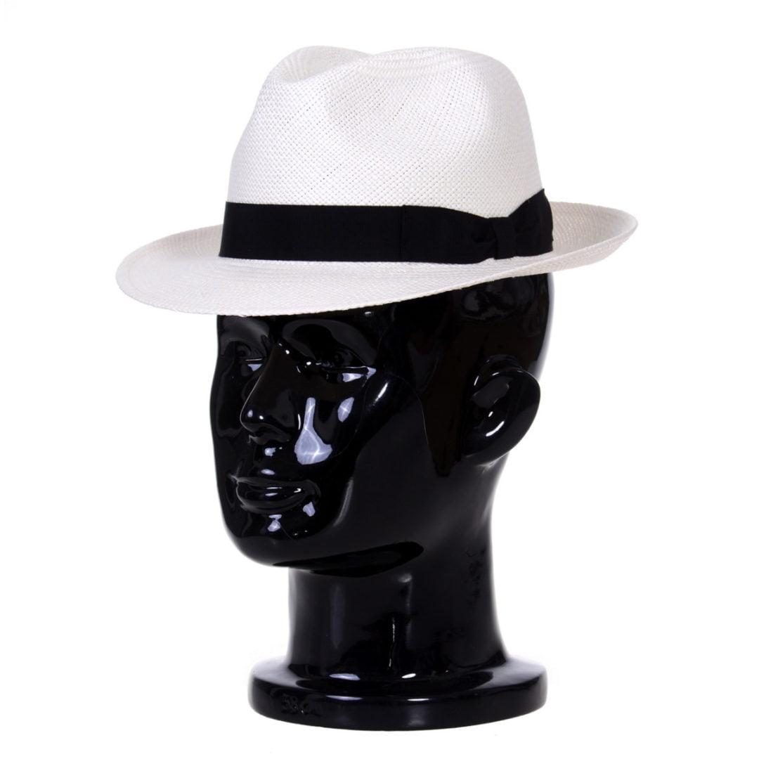 Pălărie Panama Clyde bianco/bandă neagră