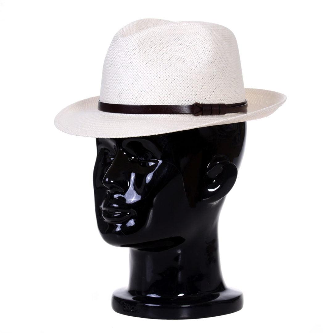 Pălărie Panama Clyde bianco/curea de piele maro
