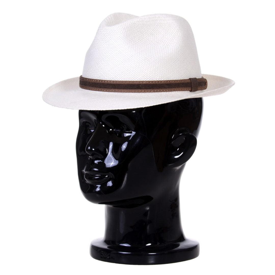 Pălărie Panama Clyde bianco/curea de piele întoarsă maro