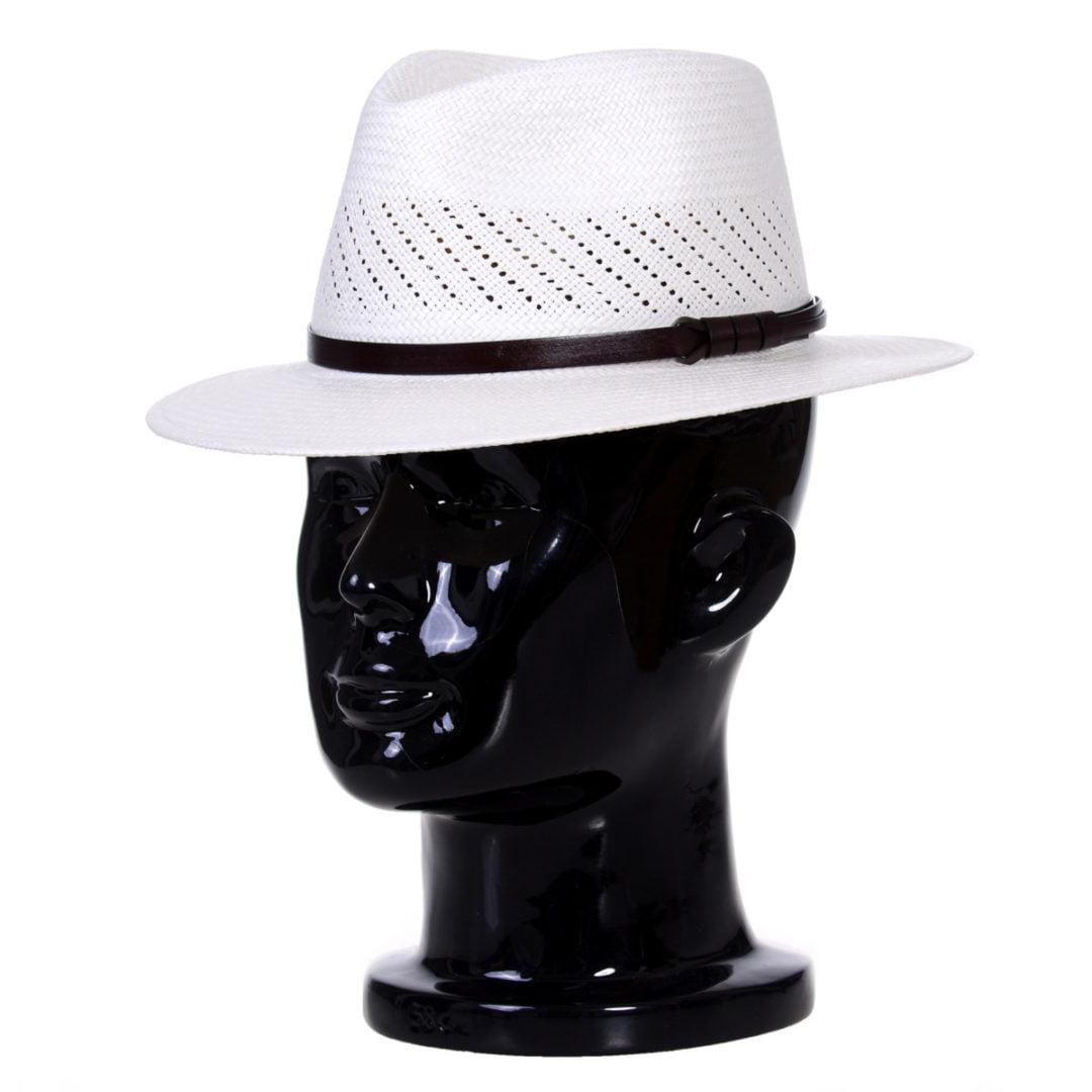 Pălărie Panama Jazz randa/centura de piele maro