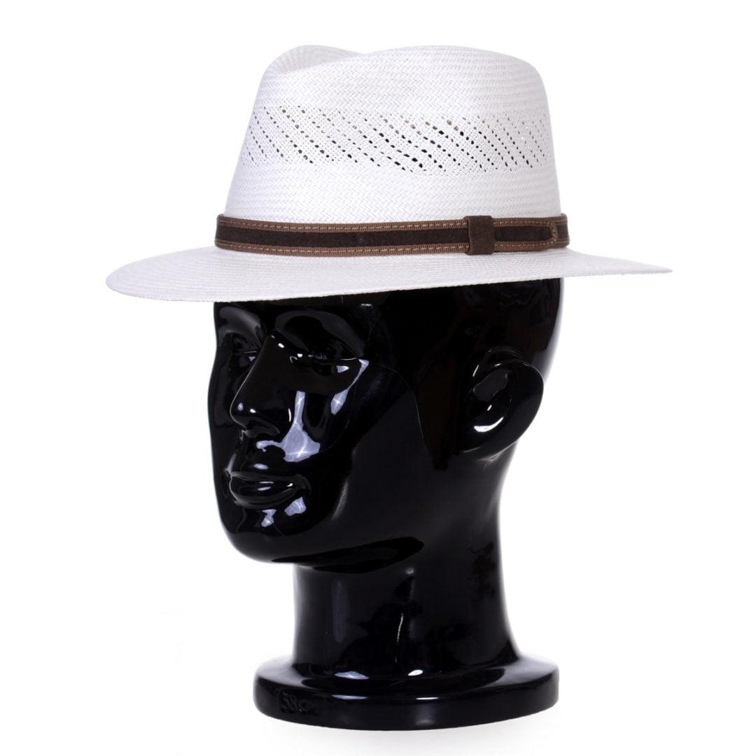 Pălărie Panama Jazz randa/centură piele întoarsă maro