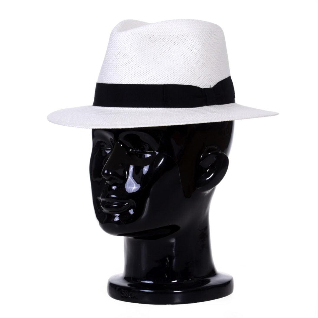 Pălărie Panama Jazz bianco/bandă albastra