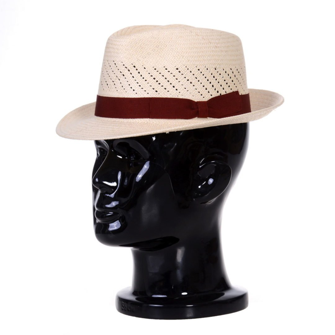 Pălărie Panama Marco randa naturale/bandă roșie