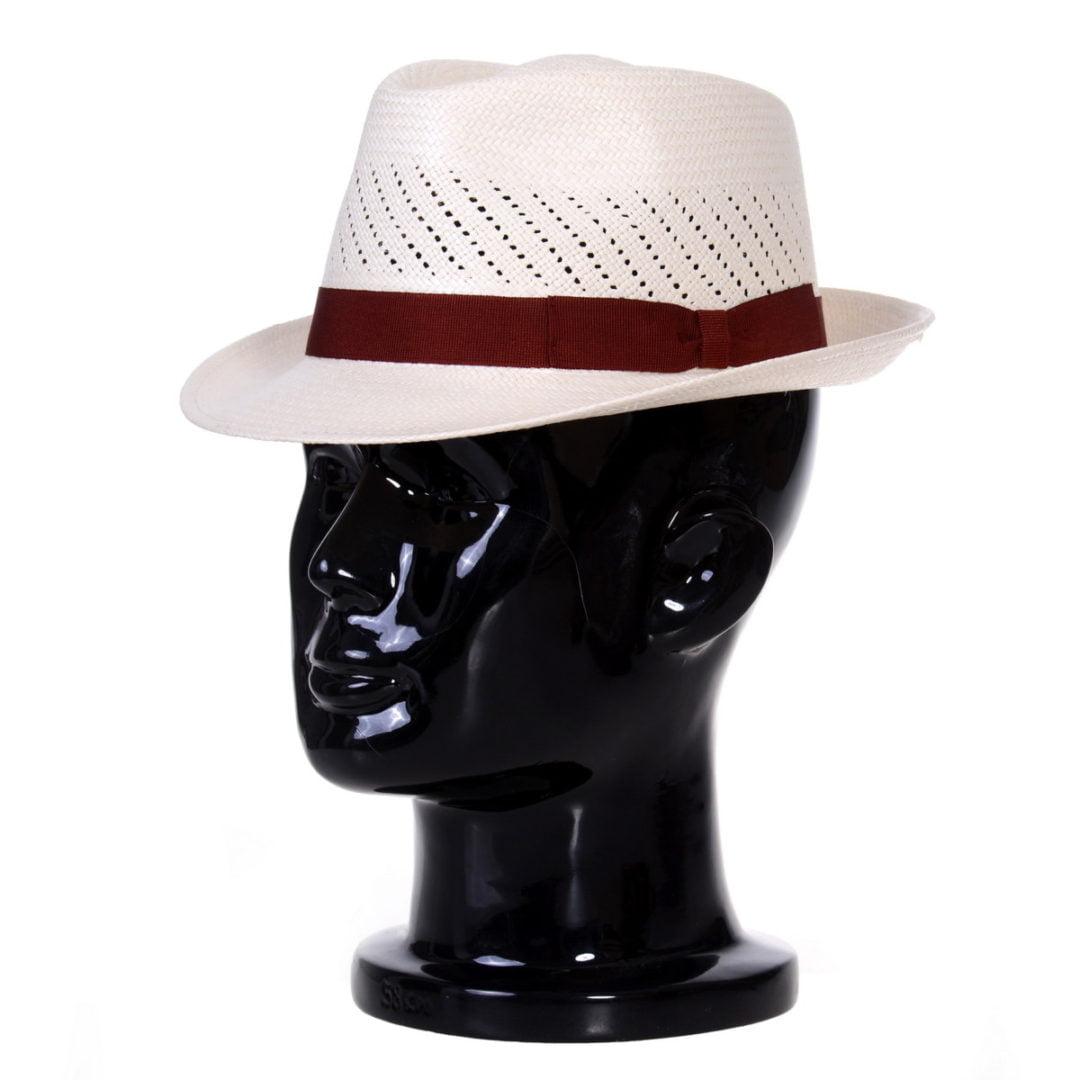 Pălărie Panama Marco randa bianco/bandă roșie