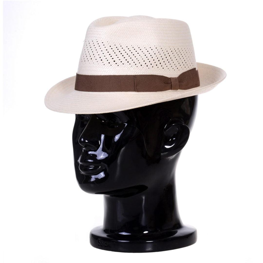 Pălărie Panama Marco randa bianco/bandă maro