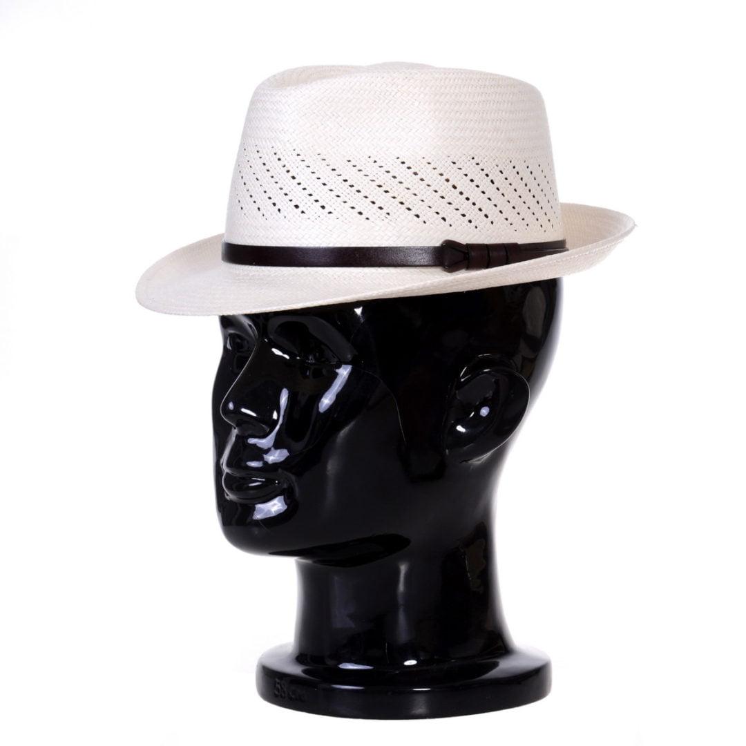 Pălărie Panama Marco randa bianco/curea piele maro