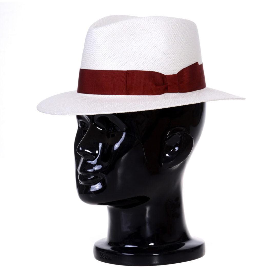 Pălărie Panama Jazz bianco/bandă roșie