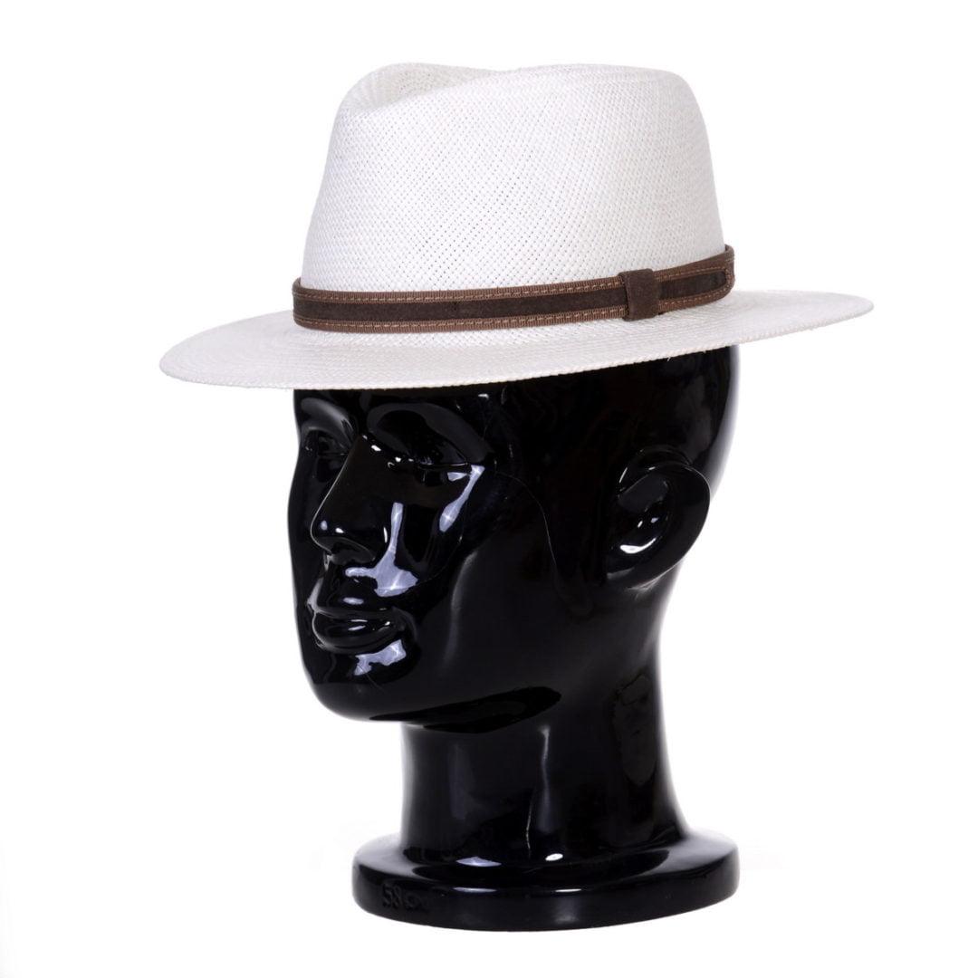 Pălărie Panama Jazz bianco/centură piele întoarsă maro