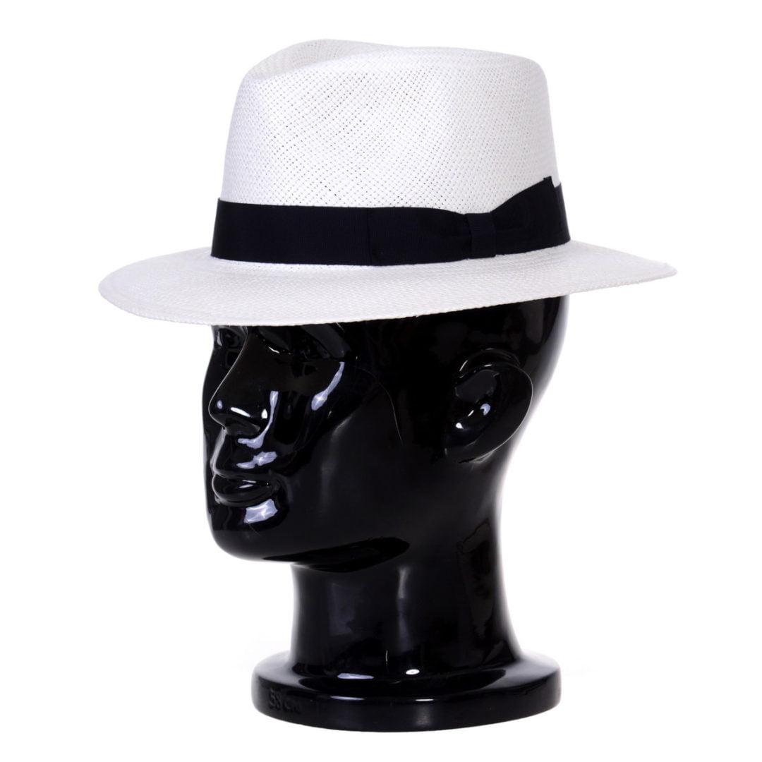 Pălărie Panama Jazz bianco/bandă neagră