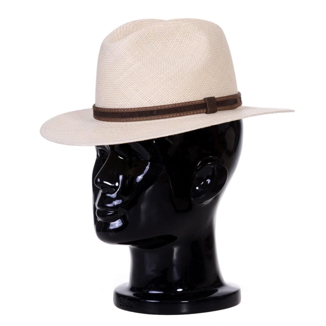 Pălărie Panama Bonnie naturale/curea piele întoarsă maro