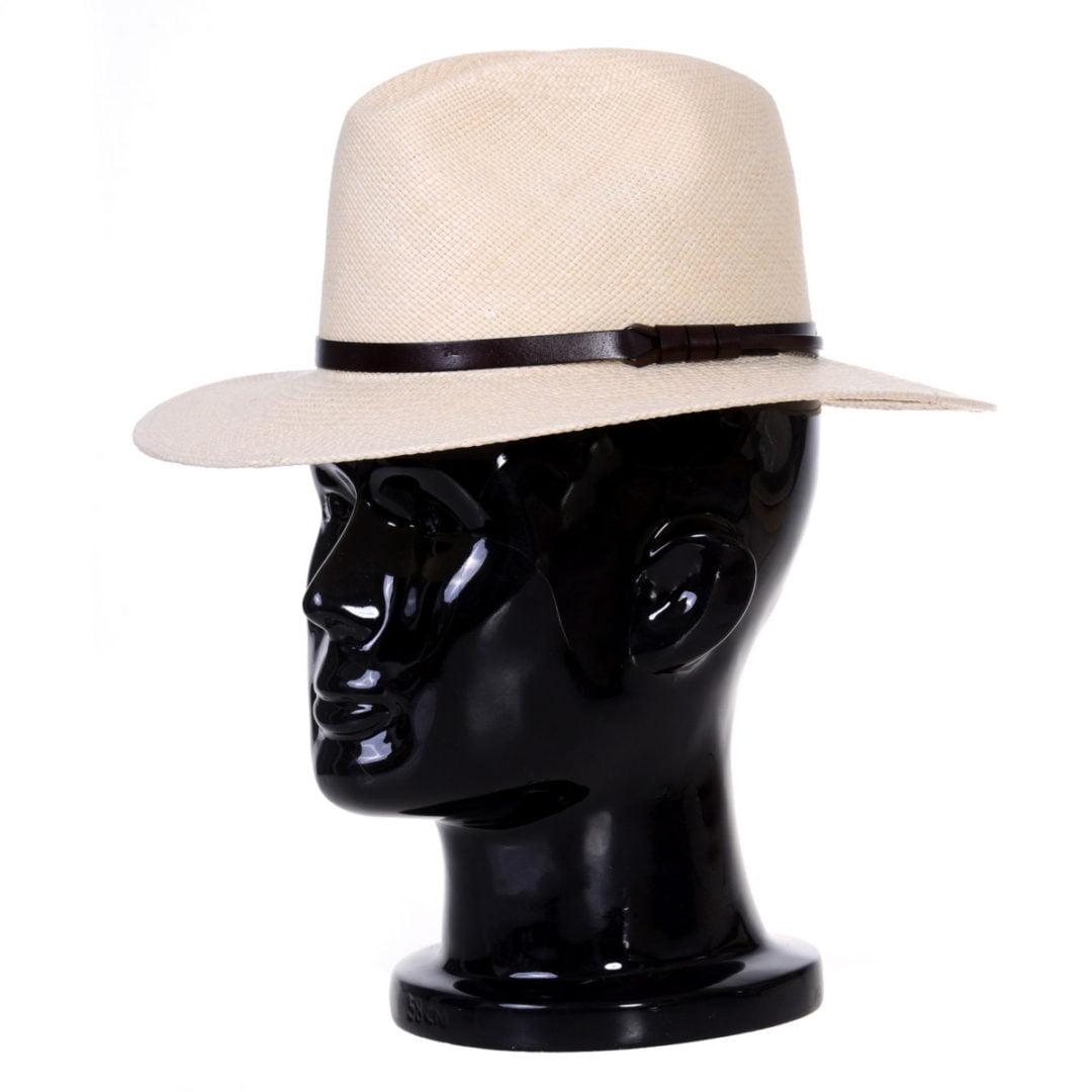 Pălărie Panama Bonnie naturale/curea piele maro