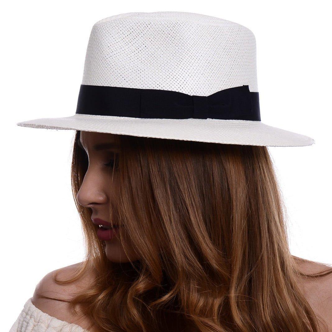 Pălărie Panama Jazz bianco/bandă albastră