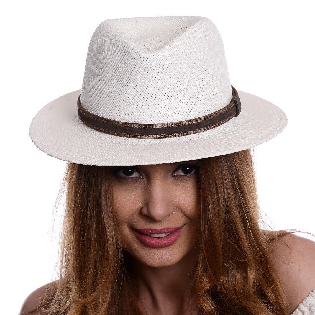 Pălărie Panama Jazz bianco/curea din piele intoarsa maro