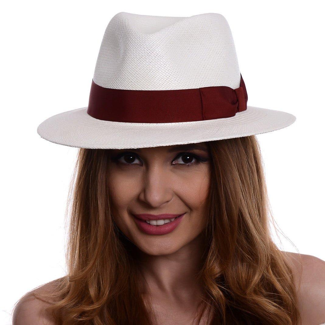 Pălărie Panama Jazz bianco/rosso