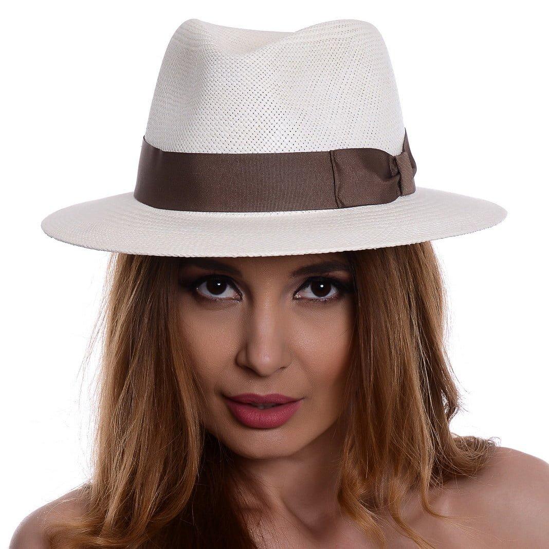 Pălărie Panama Jazz bianco/bandă maro