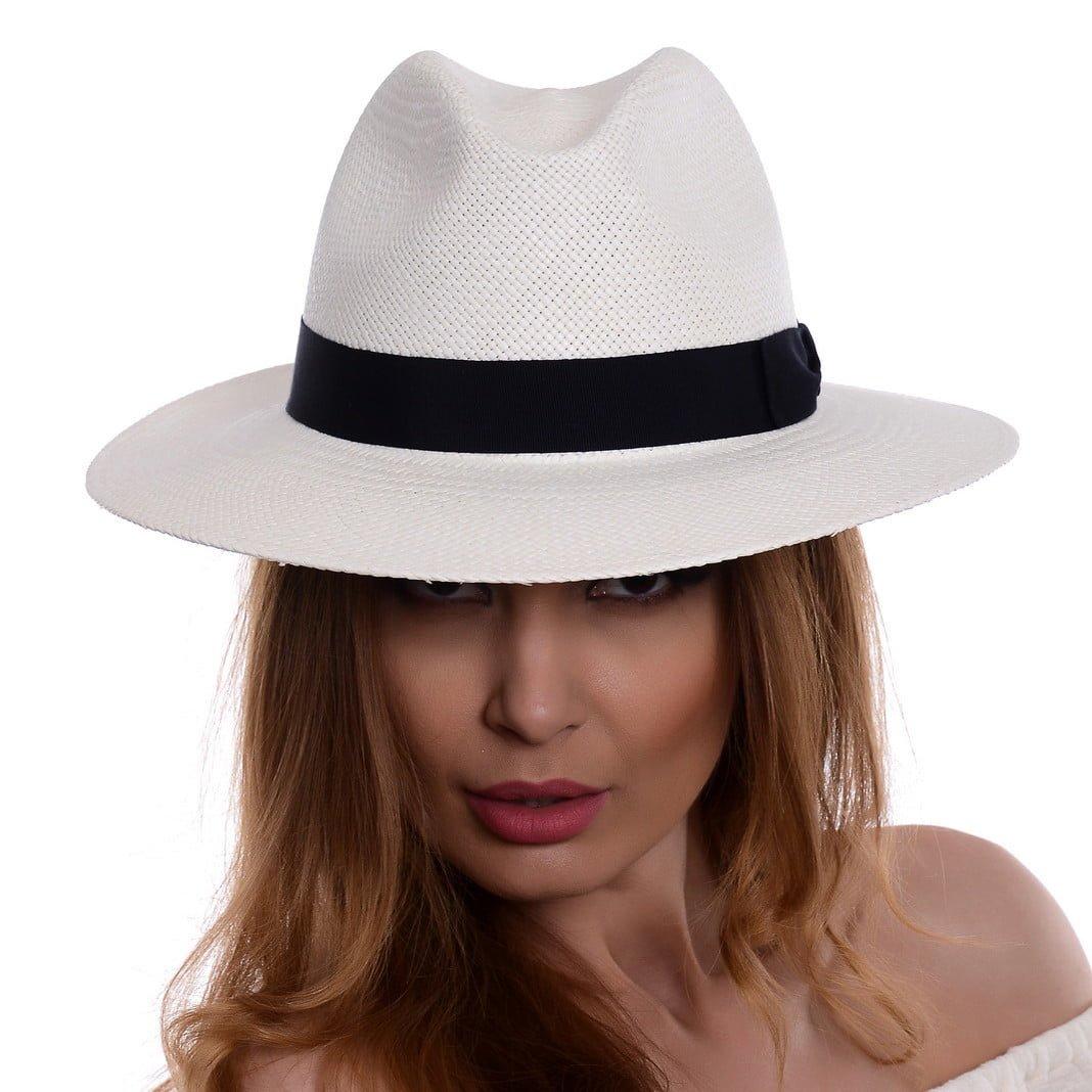 Pălărie Panama Bonnie bianco/bandă albastră