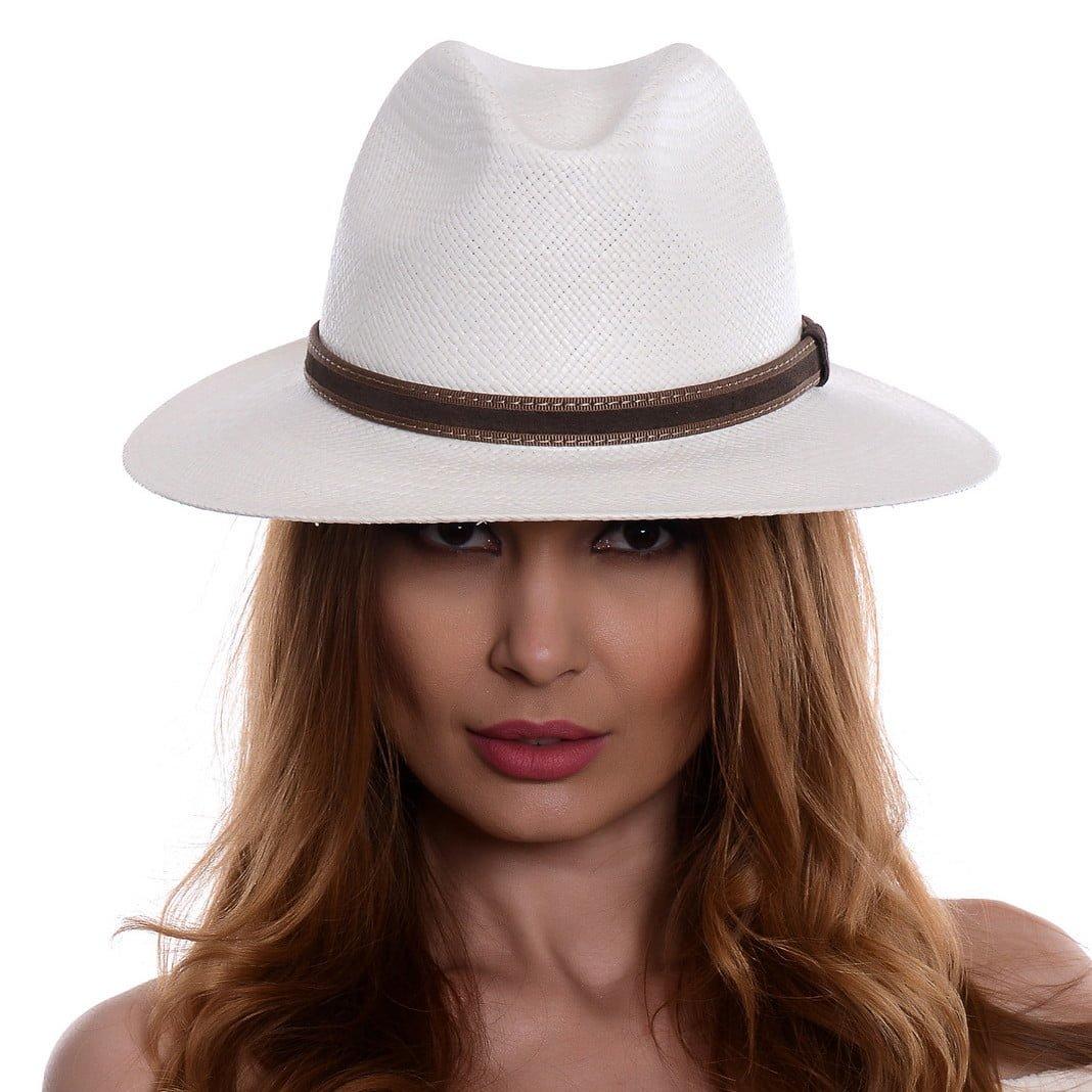 Pălărie Panama Bonnie bianco/centură piele întoarsă