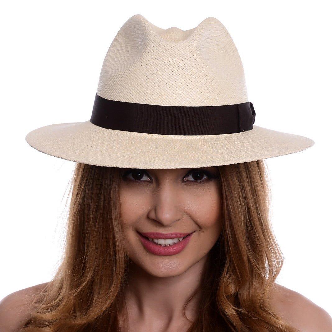 Pălărie Panama Bonnie naturale/bandă maro