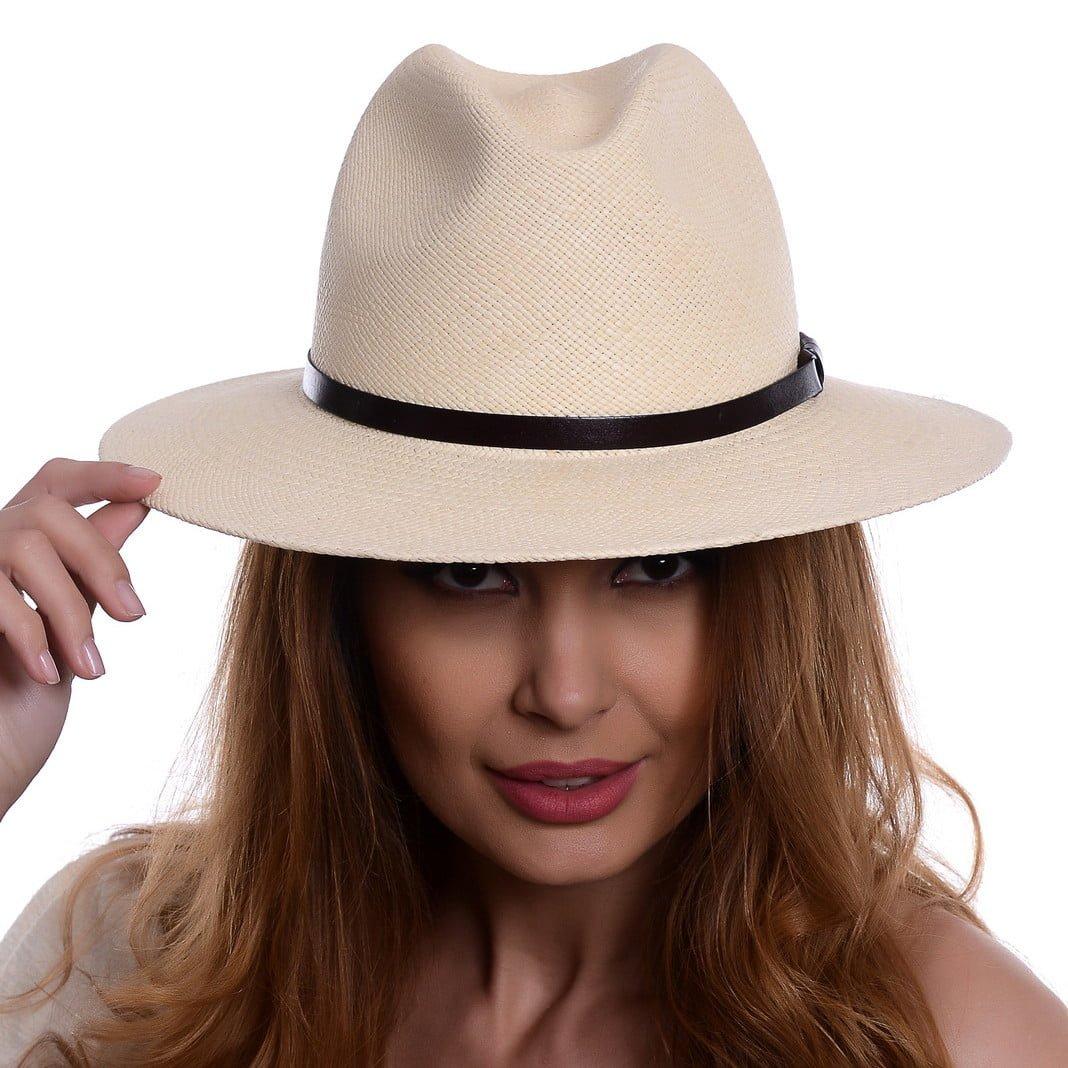 Pălărie Panama Bonnie naturale/curea din piele maro
