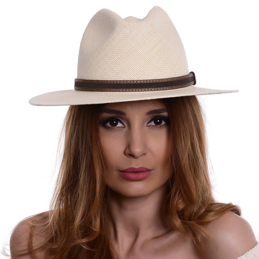 Pălărie Panama Bonnie naturale/curea din piele intoarsa maro