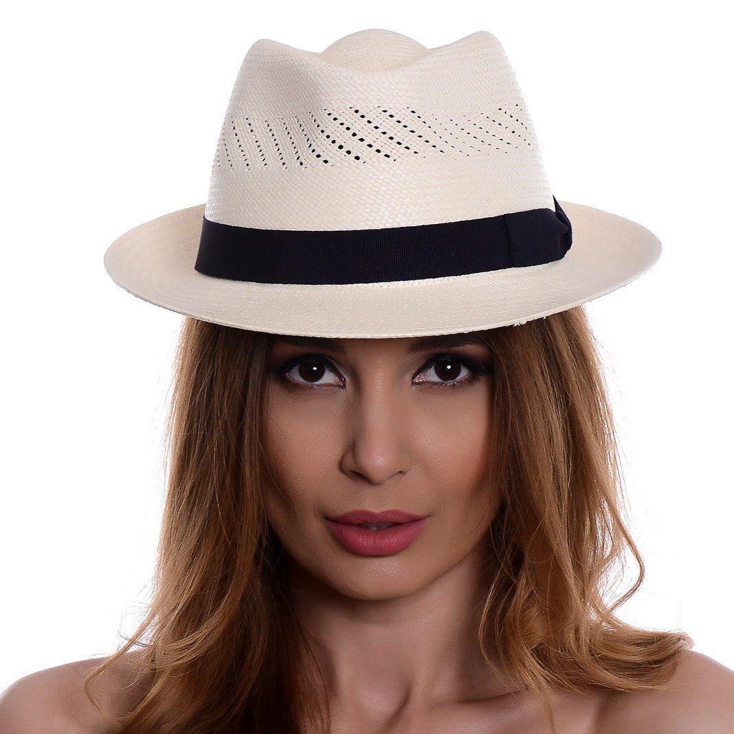 Pălărie Panama Marco bianco/bandă albastră