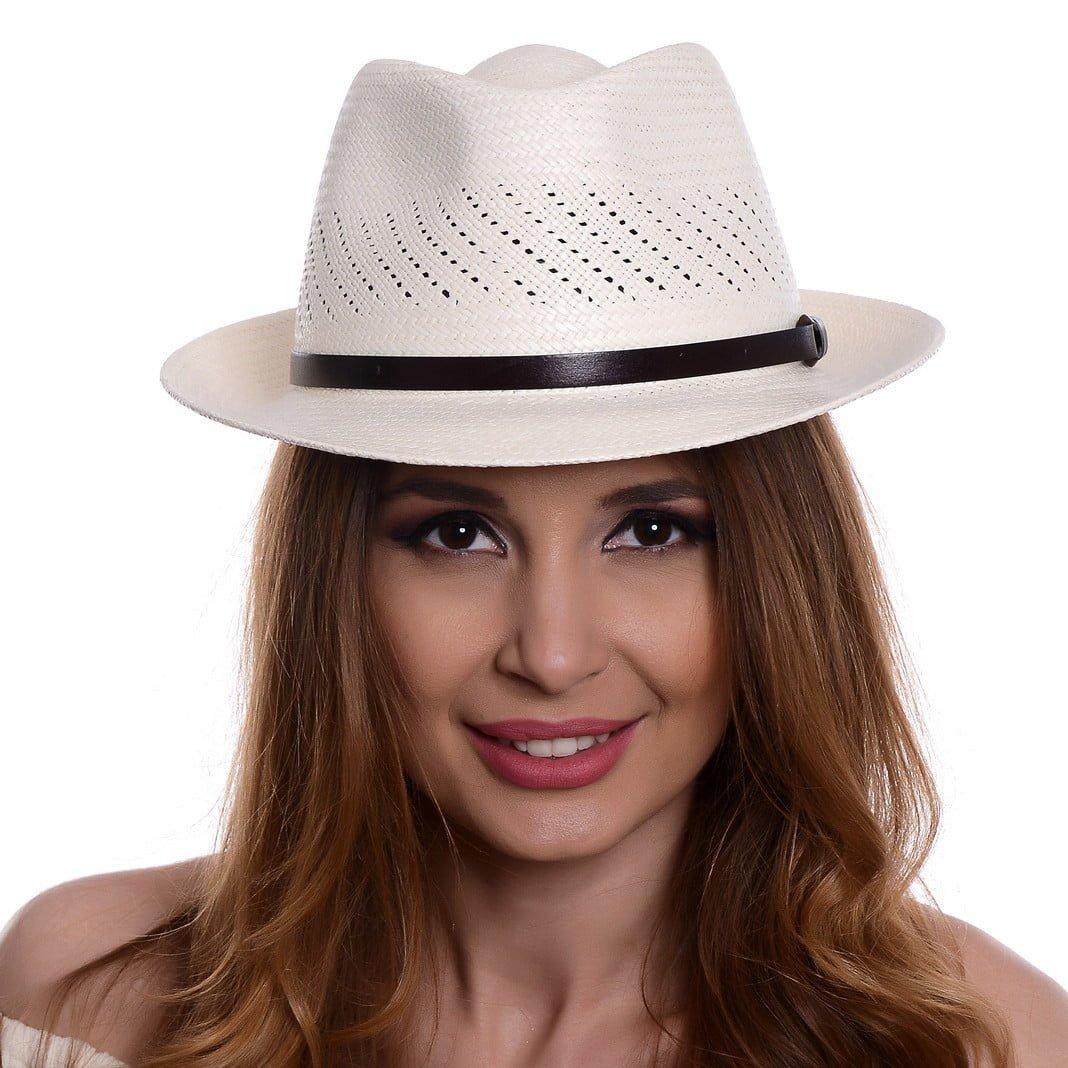 Pălărie Panama Marco bianco/curea piele maro