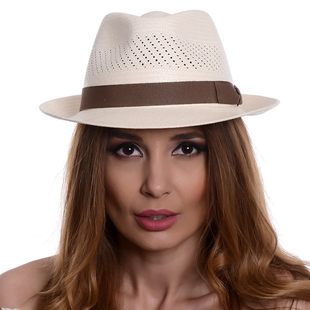 Pălărie Panama Marco bianco/bandă maro