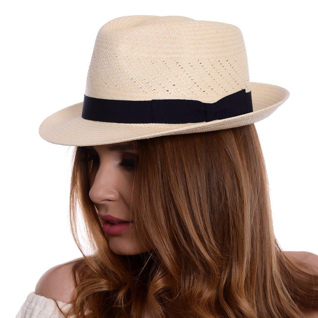 Pălărie Panama Marco naturale/blu
