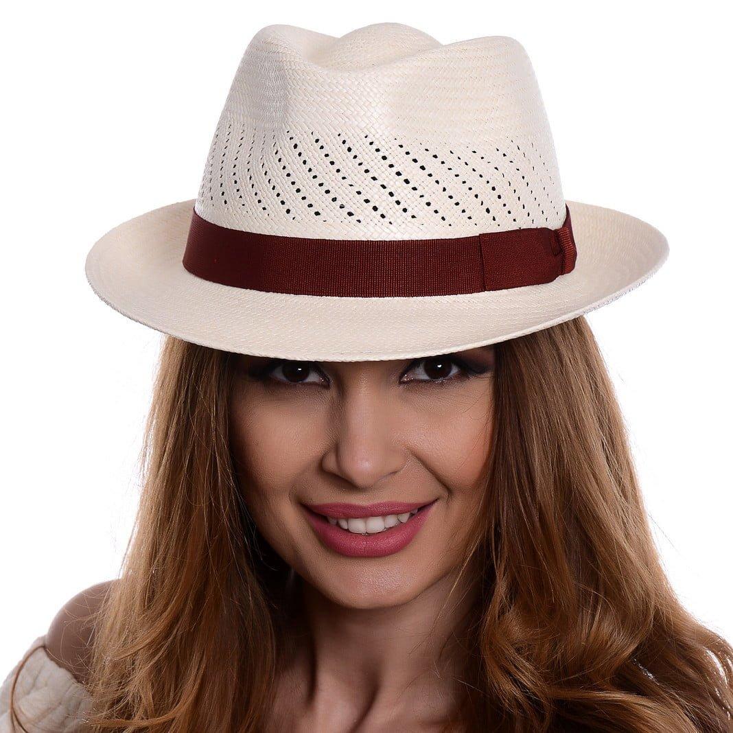 Pălărie Panama Marco bianco/rosso