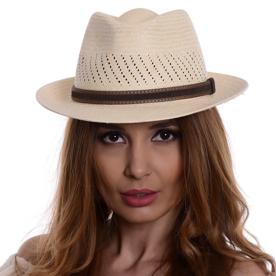 Pălărie Panama Marco naturale/curea din piele maro