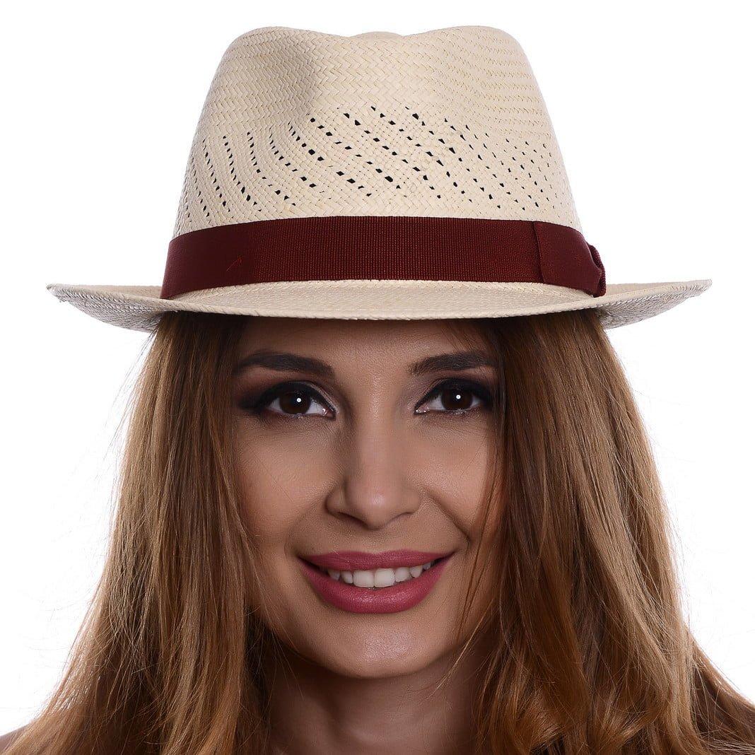 Pălărie Panama Marco naturale/bandă roșie