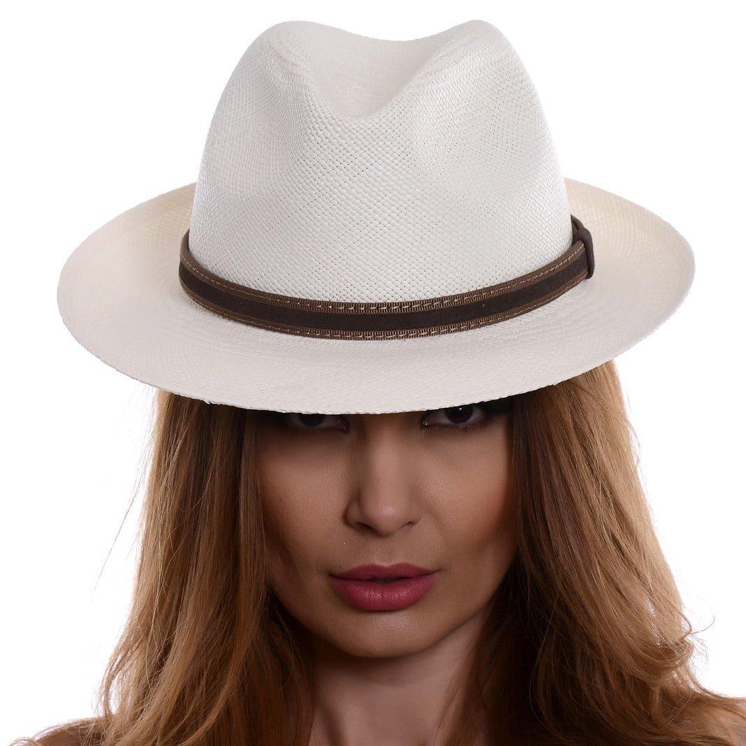 Pălărie Panama Clyde bianco/curea din piele intoarsa maro