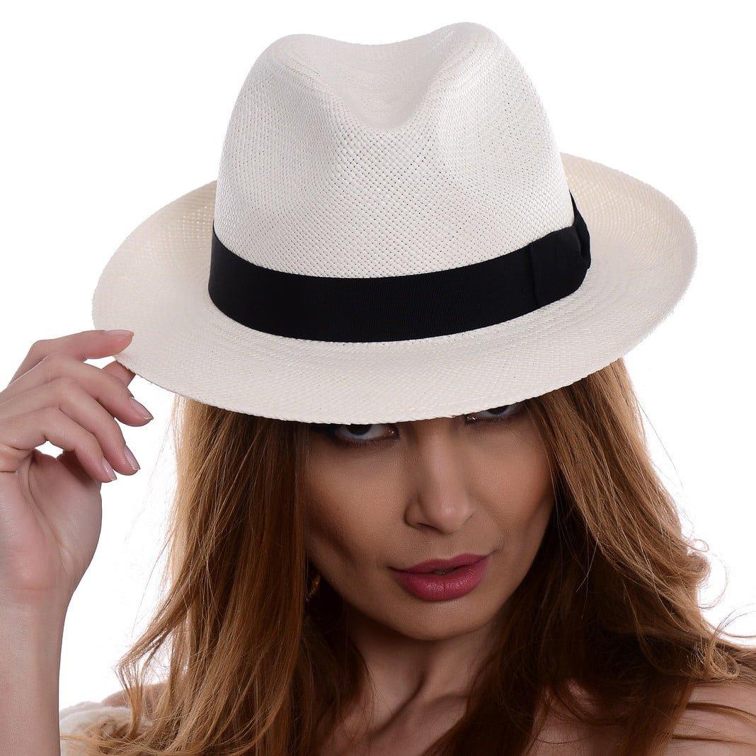 Pălărie Panama Clyde bianco/nero