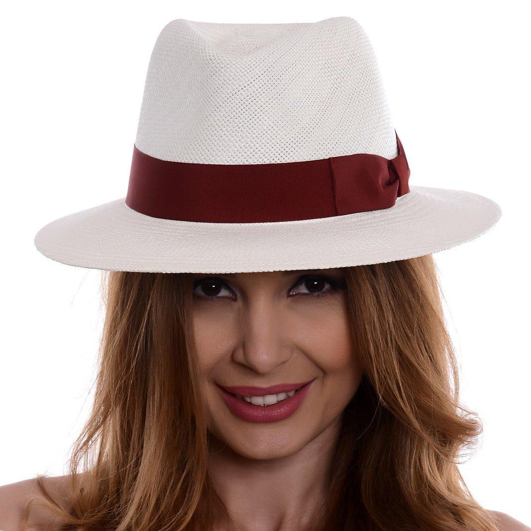 Pălărie Panama Merlin bianco/rosso