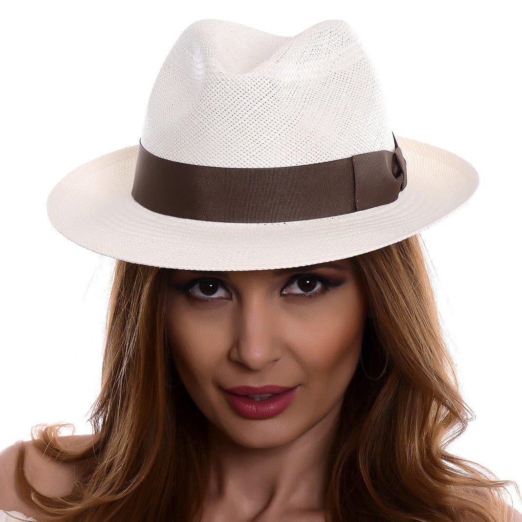 Pălărie Panama Clyde bianco/moro